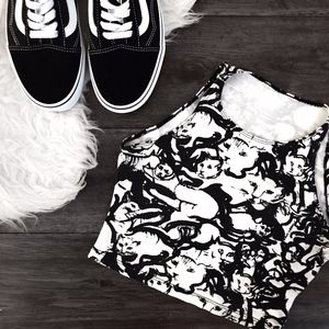 American Apparel Black & White Cat Print Crop Top